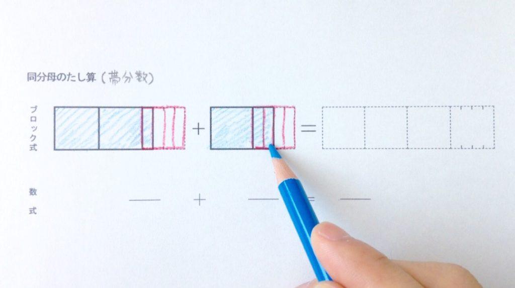図と色で分かる同分母帯分数たし算_手順1-2