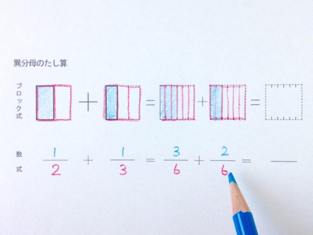 図と色で分かる異分母分数たし算_手順2-4