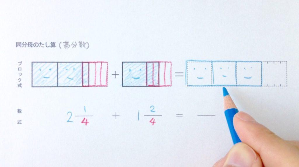 図と色で分かる同分母の帯分数たし算_手順2-1