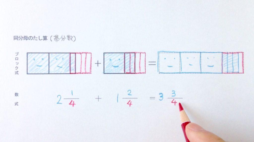 図と色で分かる同分母の帯分数たし算_手順2-3