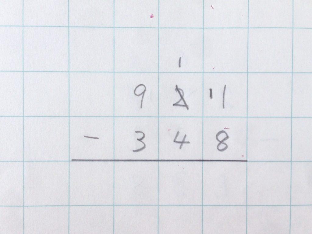 ひき算繰り下がり(2回)手順2