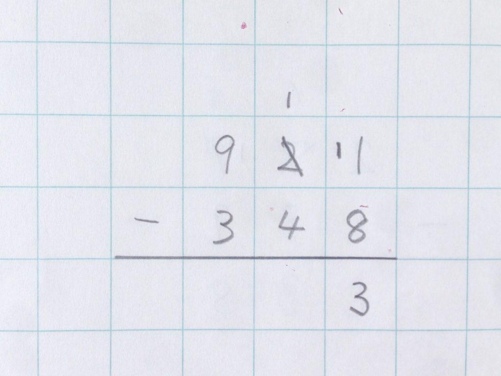 ひき算繰り下がり(2回)手順3