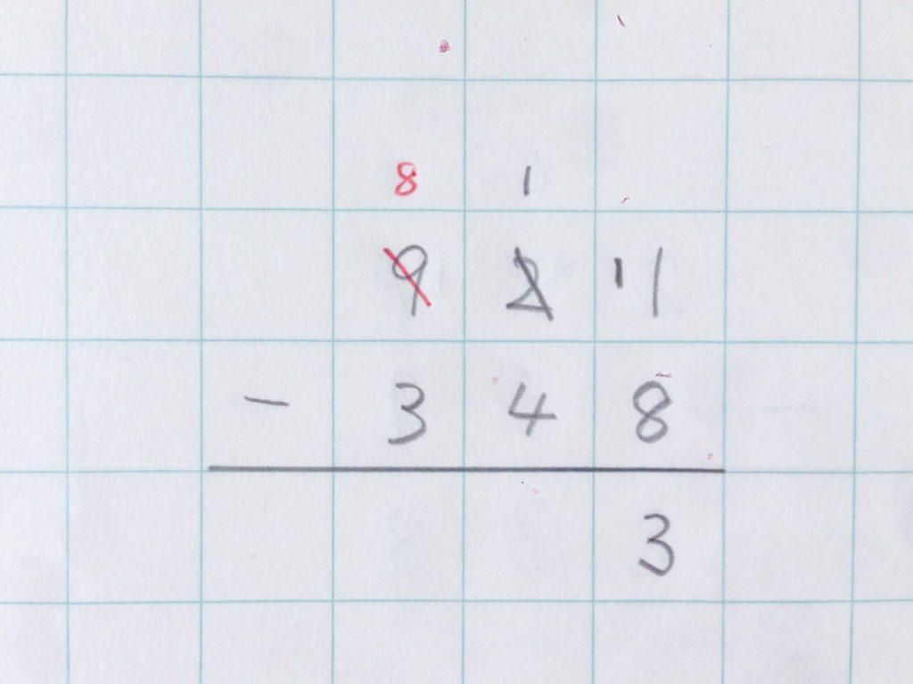 ひき算繰り下がり(2回)手順4