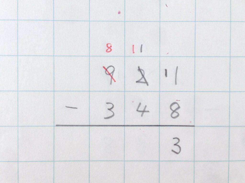 ひき算繰り下がり(2回)手順5