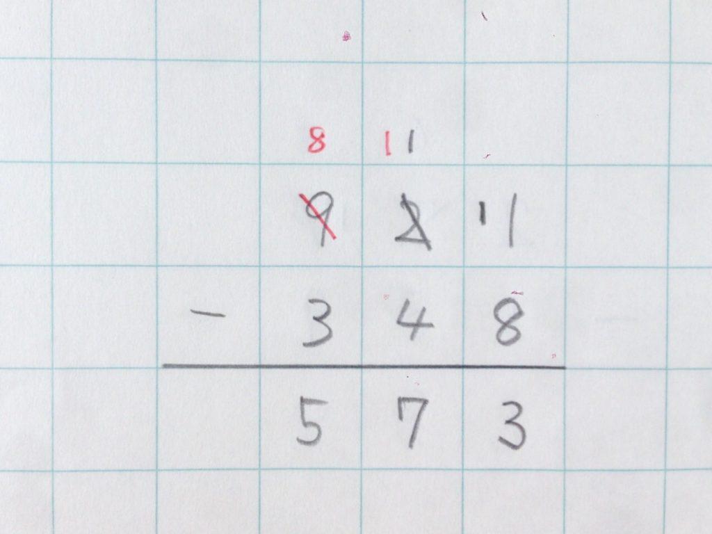 ひき算繰り下がり(2回)手順6
