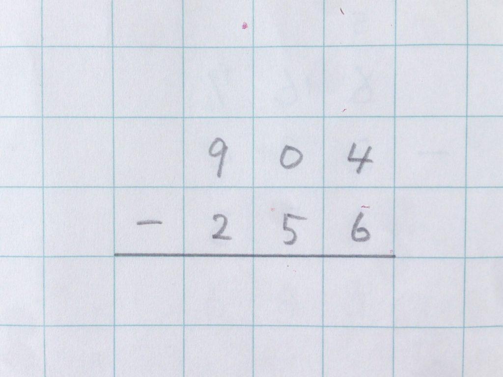 ひき算2段繰り下がり手順0