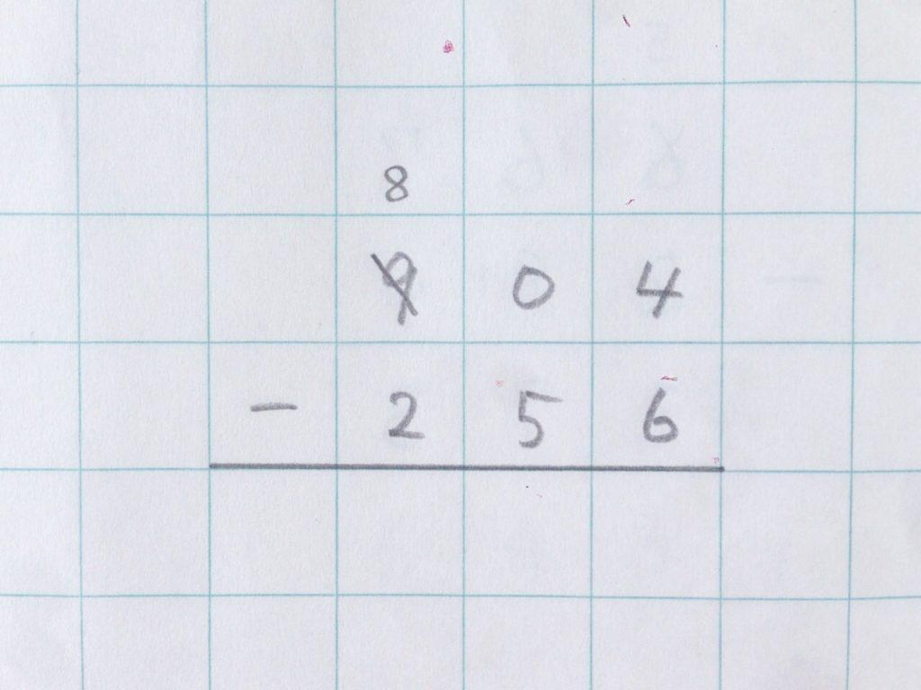 ひき算2段繰り下がり手順1