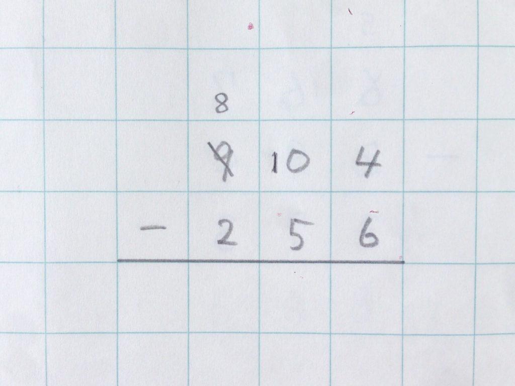 ひき算2段繰り下がり手順2